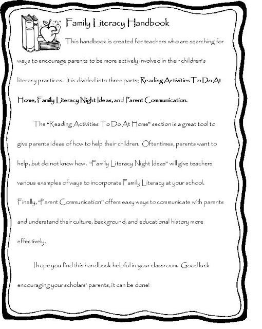Family Literacy Handbook Easy Teaching Tools