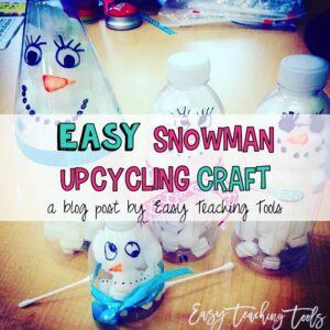 Water bottle snowman craft