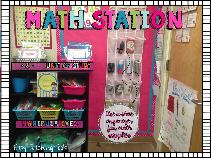 I created a Math Station area where all of our manipulatives, tools, and games are stored.  It's great because when students are finished in my class, they know to leave the assignment on their desk since we'll be grading it together as a class, and go work on something from the Math Station.  If you have everything set up, they can grab what they need.