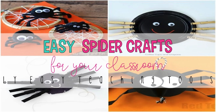 Get festive in your classroom with 15 Halloween spider crafts that you can use tomorrow.  These spider crafts are perfect for a Fun Friday activity, a parent art project, a class party, or your spider unit of study.