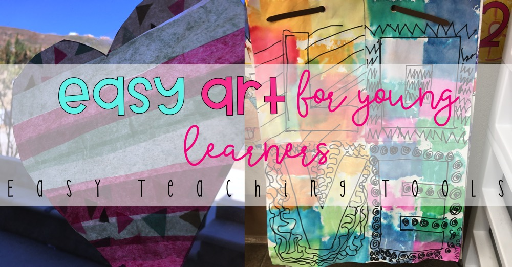 I love easy art projects for young learners because they're fun, beautiful, and the kids really enjoy them.  You can adapt these two projects for any time of the year.  We used them this year for our valentine art.