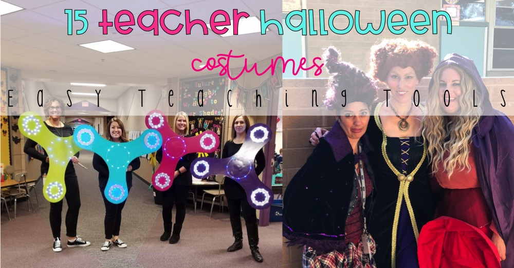 Are you allowed to dress up at school?  I've asked teachers in my Facebook group to share their favorite Teacher Halloween Costumes with you to give you some inspiration to dress up with your team.